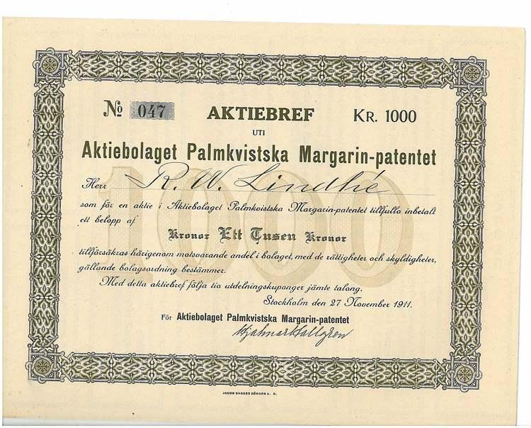 Palmkvistska Maragarin-Patentet, AB