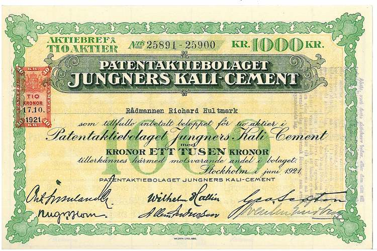 Patent AB Jungners Kali-Cement
