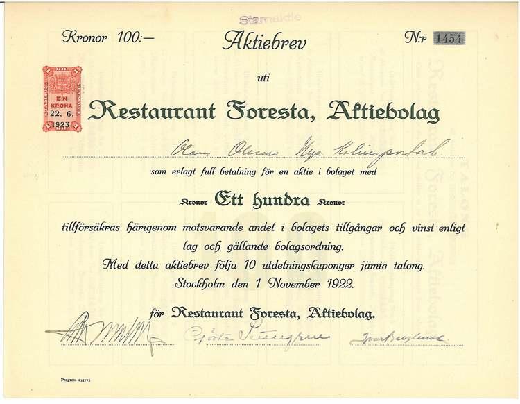Restaurant Foresta AB