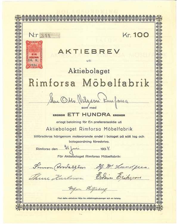 Rimforsa Möbelfabrik, AB