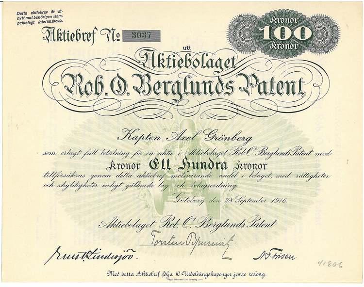 Rob.O.Berglunds Patent, AB