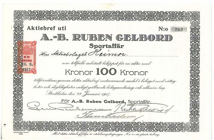 Ruben Gelbord Sportaffär, AB
