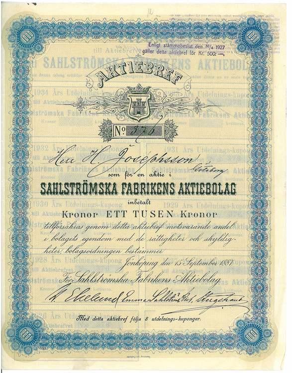 Sahlströmska Fabrikens AB, 1887