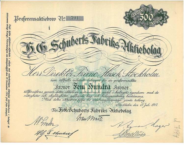 Schuberts Fabriks AB, H.G. 1917