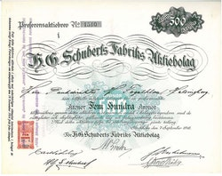 Schuberts Fabriks AB, H.G. 1918