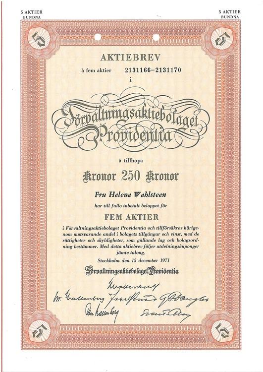 Förvaltnings AB Providentia, 250 kr