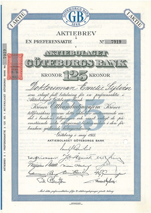 Göteborgs Bank, AB, 125 kr