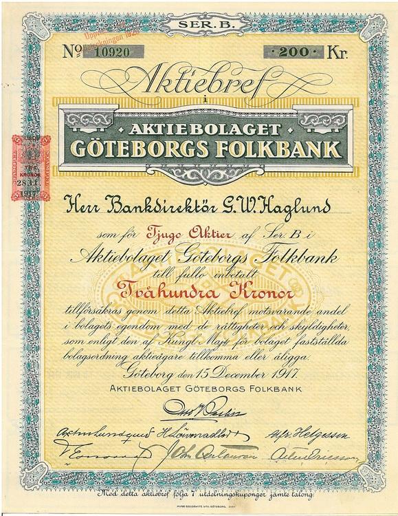 Göteborgs Folkbank, AB 200 kr