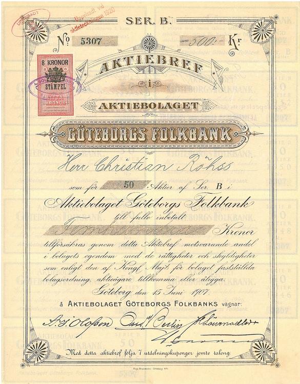 Göteborgs Folkbank, AB, 1907