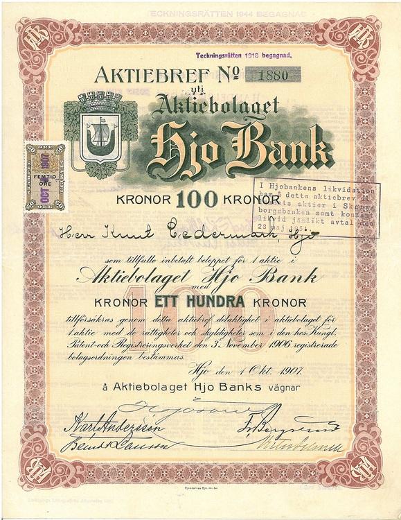 Hjo Bank, AB