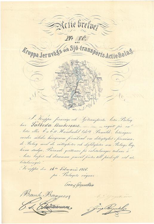 Kroppa Jernväg o Sjö-Transport AB 1855