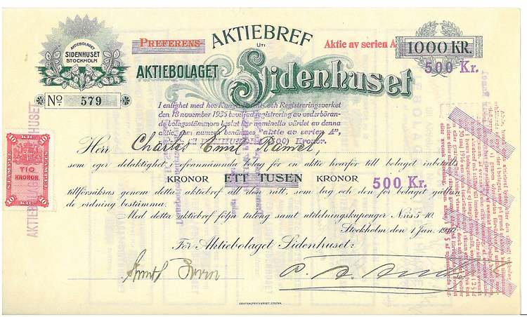 Sidenhuset, AB, 1910