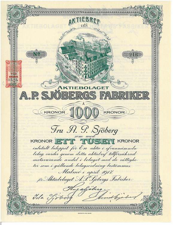 Sjöbergs Fabriker, AB A.P 1917