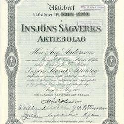 Insjöns Sågverks AB, 1918