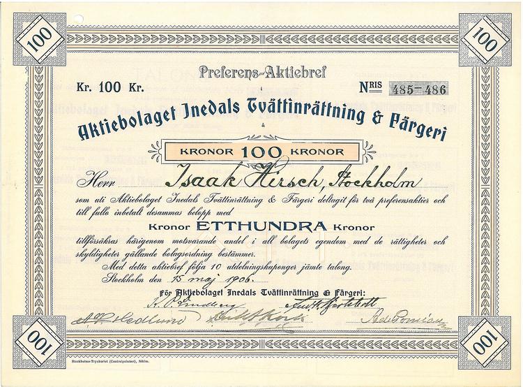 Inedals Tvättinrättning & Färgeri, AB, 1906