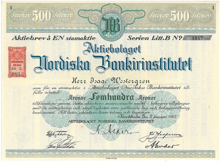 Nordiska Bankirinstitut, AB