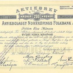 Norrköpings Folkbank, AB, 200 kr