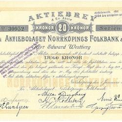 Norrköpings Folkbank, AB, 20 kr