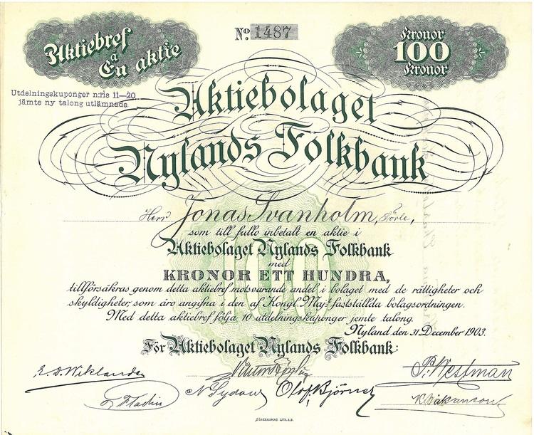 Nylands Folkbank, AB