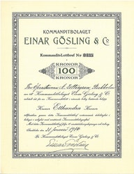 Kommanditbolaget Einar Gösling & Co.