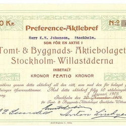 Tomt-& Byggnads-AB Stockholm Willastäderna