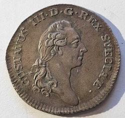 *Gustav III 1/6 Riksdaler 1789