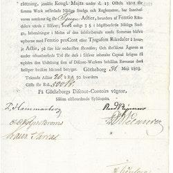 Götheborgs Disconto-Inrättning 1803.