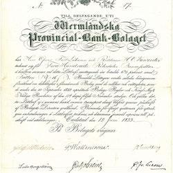 Wermländska Provincial Bank-Bolaget 1833