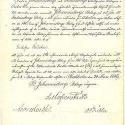 Johannisborgs Colbolt-Verk 1843