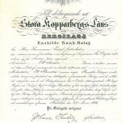 Stora Kopparbergs läns o Bergslags Enskilda Bank-Bolag 1846