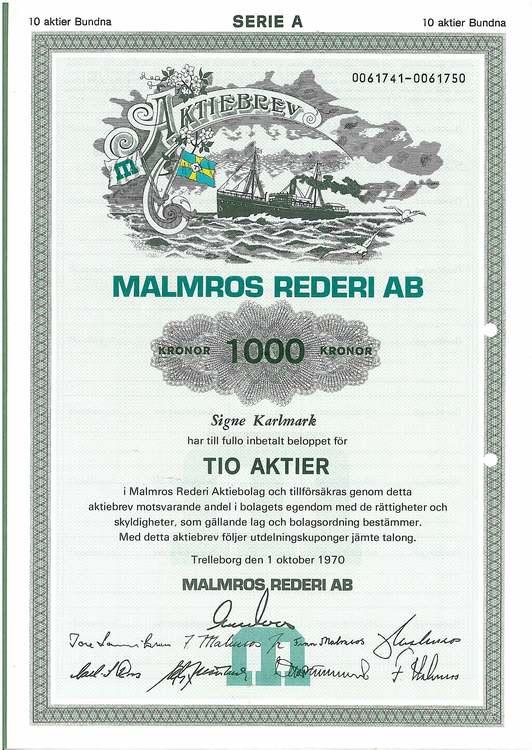 Malmros Rederi AB, 1 000 kr, 1970,