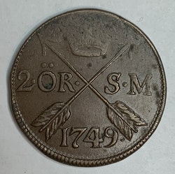 Fredrik I, 2 Öre SM, 1749