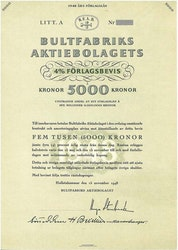 Bultfabriks AB, 4 % Förlagsbevis