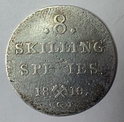 1819, Carl XIV Johan, 8 Skilling Species