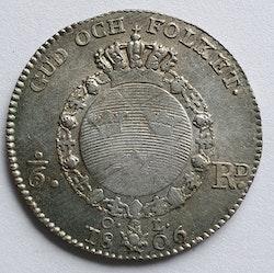 *Gustav IV Adolf, 1/6 Riksdaler 1806