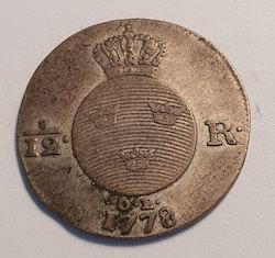 *Gustav III, 1/12 Riksdaler, 1778