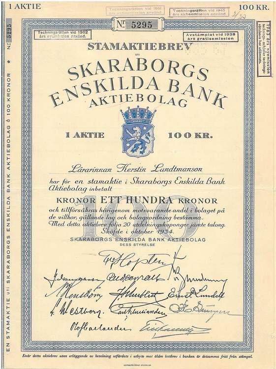 Skaraborgs Enskilda Bank, 1934