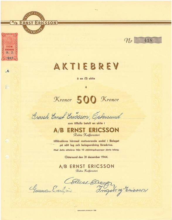 Ernst Ericsson, AB