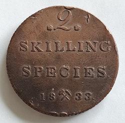 1833, Carl XIV Johan, 2 Skilling Species,