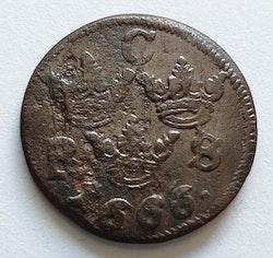 Karl XI 1/6 Öre SM 1666