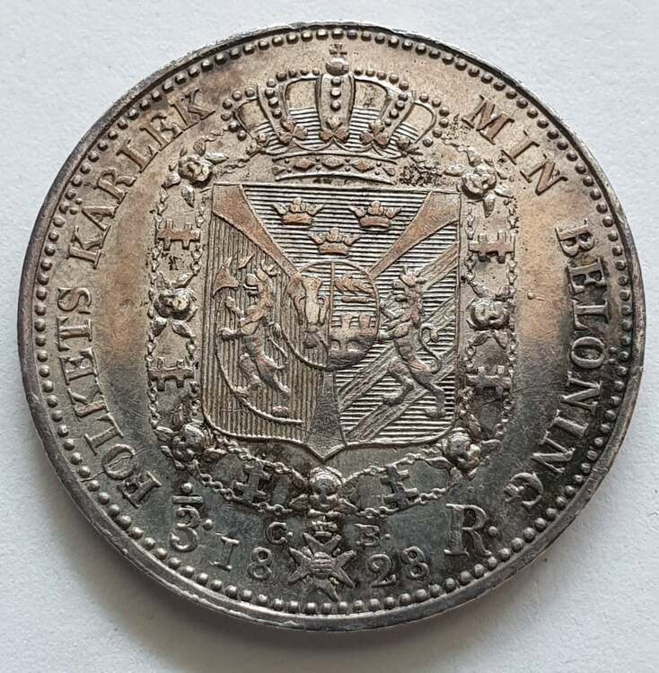 Karl XIV Johan 1/3 Riksdaler 1828