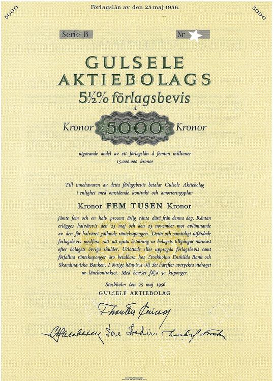 Gulsele AB, 5 1/2%, Förlagsbevis
