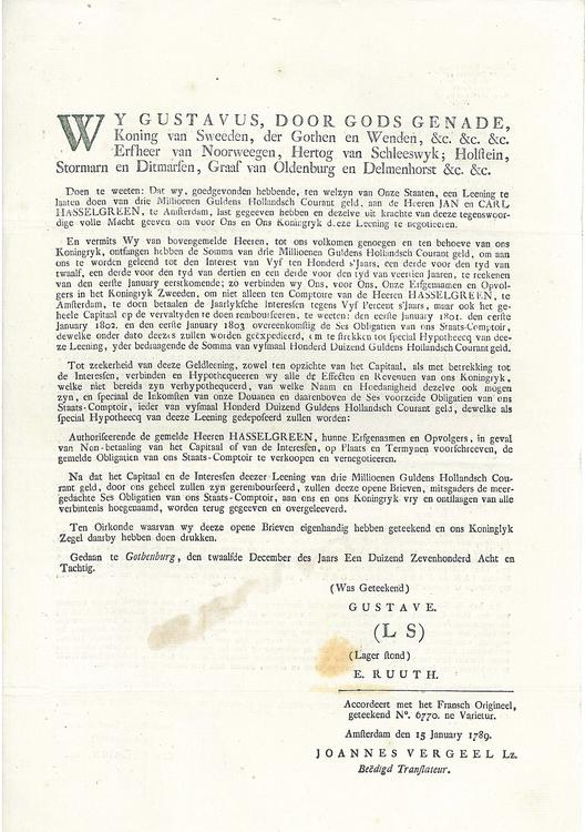 Gustav III-s Holländska Obligationslån på 3 Miljoner