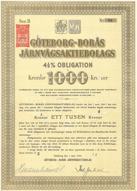 Göteborg-Borås Jernvägs AB, 4 1/2 %