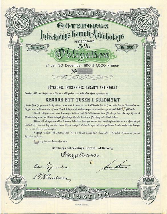 Göteborgs Intecknings Garanti AB, 5 %, 1000 i Guldmynt, 1916