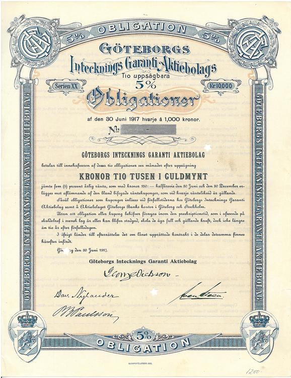 Göteborgs Intecknings Garanti AB, 5 %, 10.000 i Guldmynt, 1917