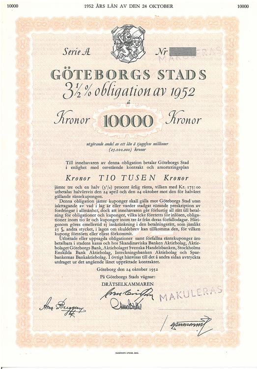 Göteborgs Stads AB, 3 1/2%, 10.000 kr, 1952