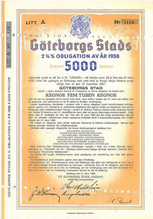 Göteborgs Stads AB, 2 3/4%, 5000 kr, 1938