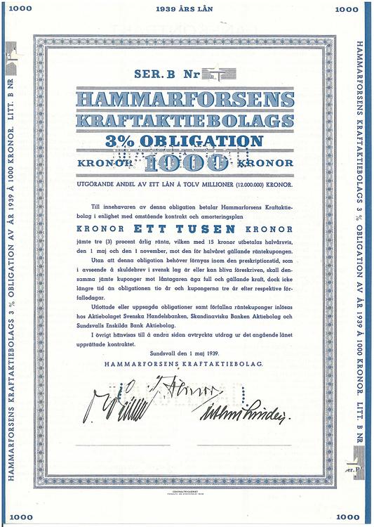 Hammarforsens Kraft AB, 3 %, 1000 kr