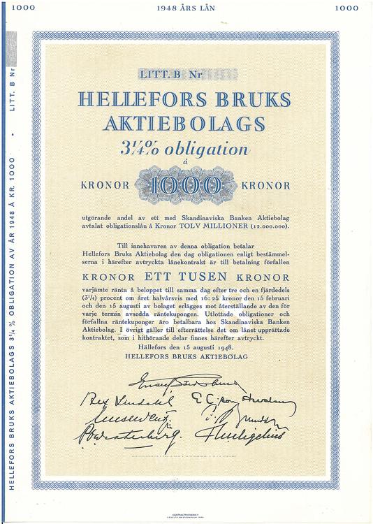 Hellefors Bruks AB, 3 1/4 %,1000 kr